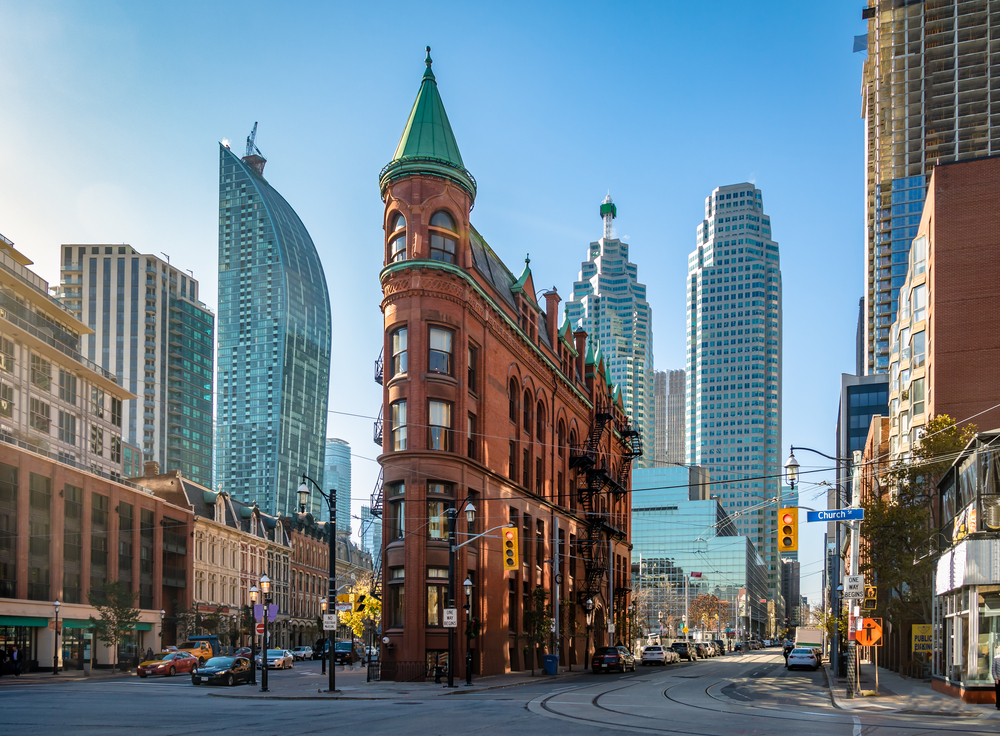 The flatiron building in downtown toronto